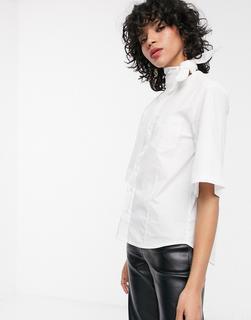Simonett - Triangle– Weiße Bluse mit Halsband und weiten Ärmeln
