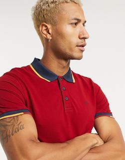 Jack & Jones - Rotes Polohemd mit Kontraststreifen