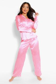 boohoo - Womens Mix & Match Candy Stripe Satin Trousers - Pink - 6, Pink