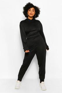 boohoo - Womens Plus Melange Knit Hoody & Jogger Set - Black - 16, Black