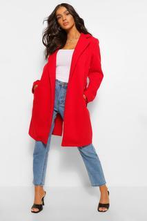 boohoo - Womens Mantel In Wolloptik Mit Gürtel - Rot - 34, Rot