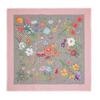 Gucci - Accessoire - GG Flora Printed Wool Silk Scarf Beige/Pink - in rosa - für Damen