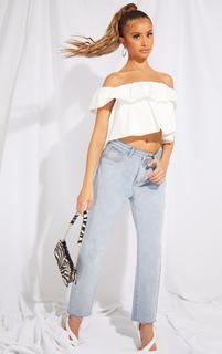 PrettyLittleThing - Petite White Frill Detail Bardot Blouse, White