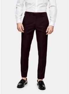 Topman - Mens Burgundy Skinny Suit Trousers, Burgundy