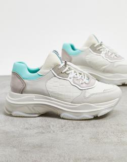Bronx - Klobige Sneaker aus pastellfarbenem Leder-Weiß