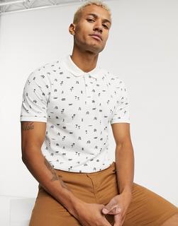 Jack & Jones - Polohemd mit abstraktem Strandprint-Weiß