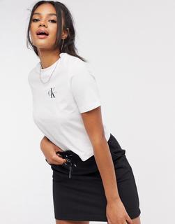 Calvin Klein - Kurzes T-Shirt mit Logo in Weiß