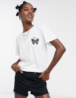 Obey - Oversize-T-Shirt mit Schmetterling-Logografik-Weiß
