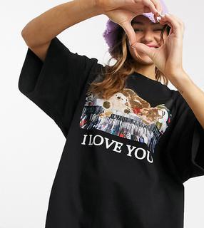 Little Sunny Bite - Oversize-T-Shirt mit Teddy-Grafik-Schwarz