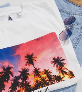 Noisy May Tall - Weißes T-Shirt mit Rückenausschnitt