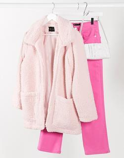 I Saw It First - Lang geschnittene Fleece-Jacke in Rosa