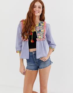 Glamorous - Bestickte Jacke mit Quastenverzierung-Blau