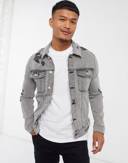 ASOS DESIGN - Enge Jeansjacke mit Zierrissen in Grau