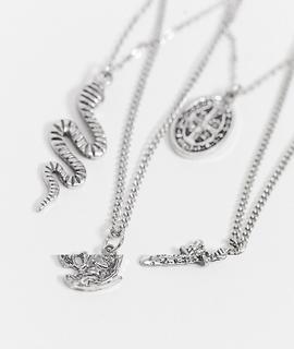 ASOS DESIGN - Silberfarbene Halsketten im Set mit Schlangen- und Münzanhängern