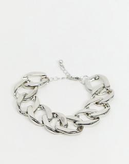 ASOS DESIGN - Armband mit flacher Panzerkette in Silber