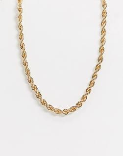 ASOS DESIGN - Goldene Halskette mit 7 mm breiter Kordelkette