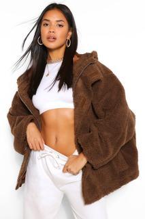 boohoo - Womens Oversized-Fake-Fur-Mantel - Schokoladenbraun - 34, Schokoladenbraun