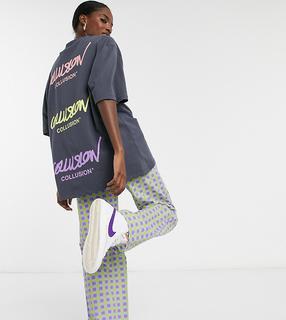 Collusion - Unisex – Oversize-T-Shirt mit Logodruck, in Anthrazit-Grau