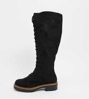 ASOS DESIGN - Courtney – Kniehohe Schnürstiefel in weiter Passform-Schwarz
