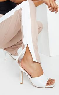 PrettyLittleThing - White Square Toe Mule High Heels, White