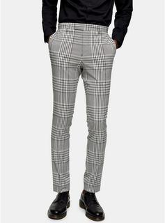 Topman - Mens Grey Check Super Skinny Suit Trousers, Grey