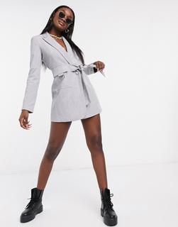 4th + Reckless - Blazer-Kleid mit Schnallendetail und Gürtel in Grau