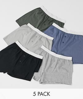 ASOS DESIGN - 5er-Packung Jersey-Boxershorts, JETZT SPAREN!-Mehrfarbig