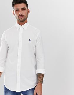 Polo Ralph Lauren - Weißes Pikeehemd in schlanker Passform mit Button-down-Kragen und Polospieler-Logo
