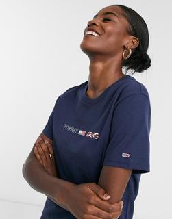 Tommy Jeans - Americana – T-Shirt mit Logo-Navy