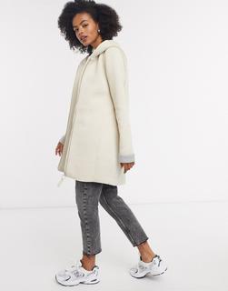 ONLY - Lena – Lang geschnittener, verstärkter Mantel mit Reißverschluss in Grau