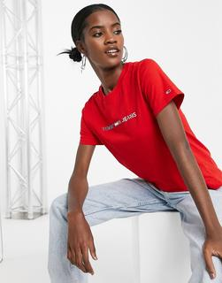 Tommy Jeans - Americana – T-Shirt mit Logo-Rot