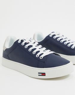 TOMMY HILFIGER - Basic-Sneaker aus Leder mit Logo in Marine-Navy