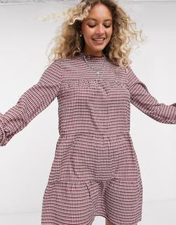 ONLY - Minikleid mit Karomuster und Rüschen am Ausschnitt-Mehrfarbig