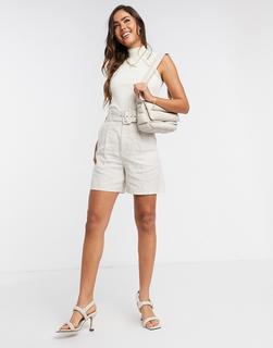 MANGO - Bermuda-Shorts aus Leinen mit Gürtel in Beige