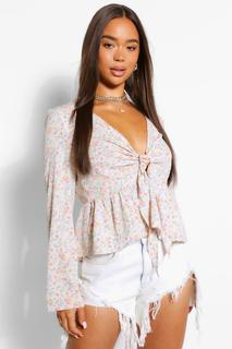 boohoo - Womens Woven Ditsy Tie Front Blouse - White - 14, White