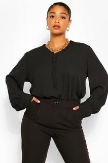 boohoo - Womens Plus Ruffle Collar Longsleeve Blouse - Black - 22, Black