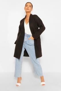 boohoo - Womens Kragenloser Mantel In Wolloptik Mit Taschendetail - Schwarz - 34, Schwarz