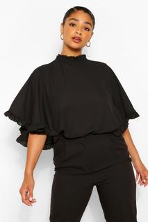 boohoo - Womens Plus Ruffle Angel Sleeve High Neck Blouse - Black - 20, Black