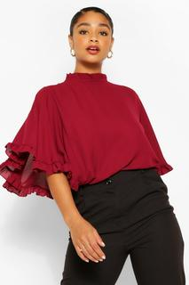 boohoo - Womens Plus Ruffle Angel Sleeve High Neck Blouse - Red - 22, Red