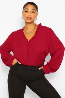 boohoo - Womens Plus Ruffle Collar Longsleeve Blouse - Red - 18, Red