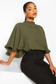 boohoo - Womens Plus Ruffle Angel Sleeve High Neck Blouse - Green - 16, Green