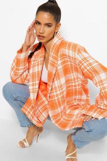 boohoo - Check Boucle Double Breasted Boxy Blazer - Orange - 10, Orange