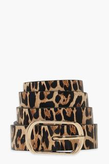 boohoo - Womens Leopard Simple Buckle Belt - Brown - One Size, Brown