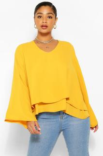boohoo - Womens Plus Double Layer V Neck Swing Blouse - Yellow - 16, Yellow