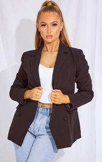 PrettyLittleThing - Black Double Breasted Woven Button Blazer, Black