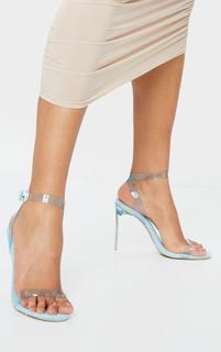 PrettyLittleThing - Blue Toweling Clear Strap High Heel, Blue