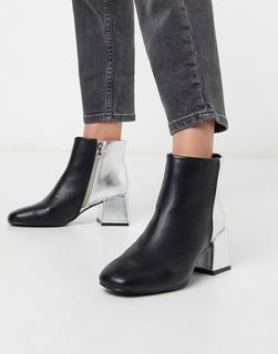 Glamorous - Ankle Boots mit Absatz und Kontrastdesign-Schwarz
