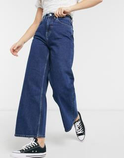 People Tree - Kurz geschnittene Jeans mit weitem Bein aus Bio-Baumwolle-Blau