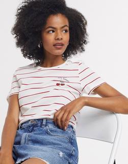ONLY - Kitti Cherry – Gestreiftes T-Shirt mit Print-Mehrfarbig