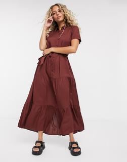 Vero Moda - Wadenlanges Hemdkleid inBraun